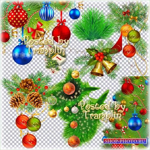 Новогодний клипарт в Png – Хвойные ветки, елочные шары и мишура