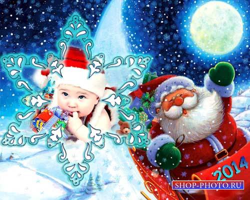 Детская рамка для Photoshop - Новогодняя снежинка