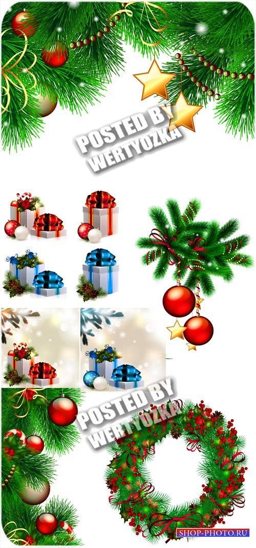 Зеленая елочка с цветными шарами и подарками - вектор