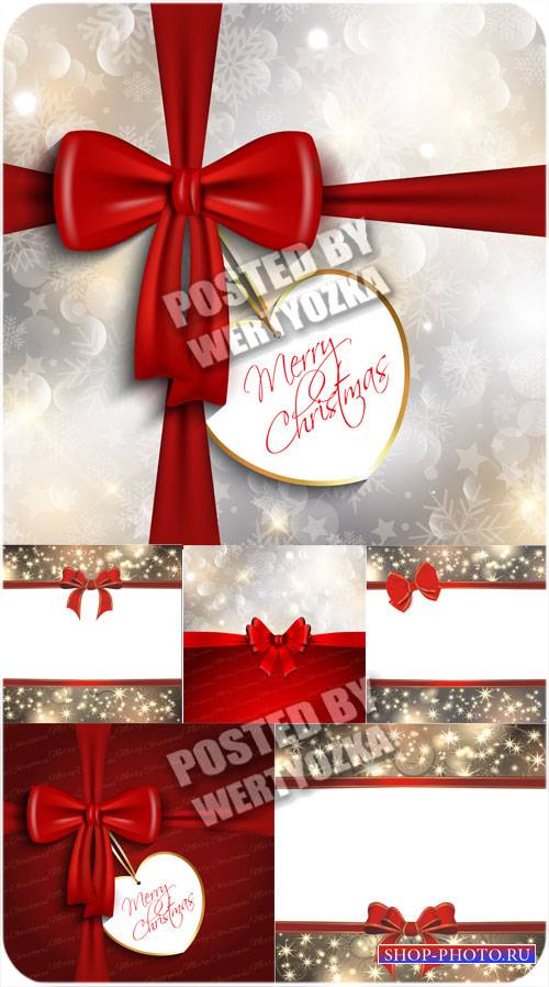 Рождественские векторные фоны с блестками и красными лентами