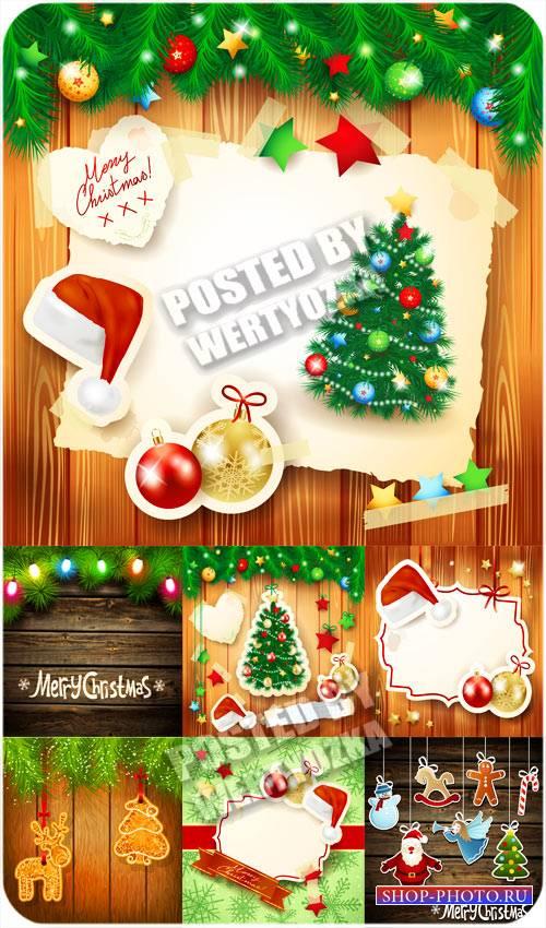 Векторные фоны с рождественскими элементами