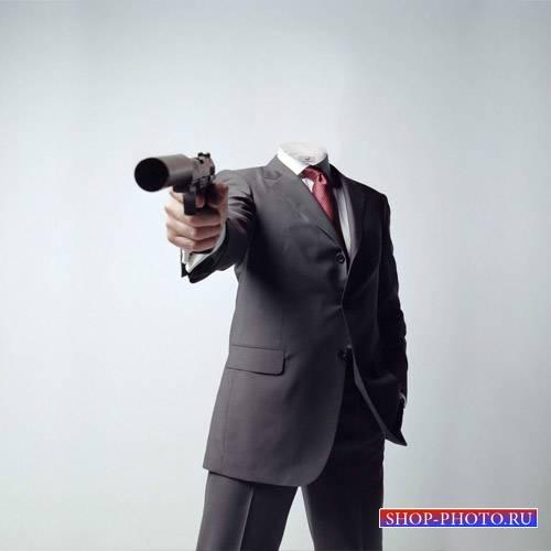 Мужской шаблон - Опасный парень с пистолетом
