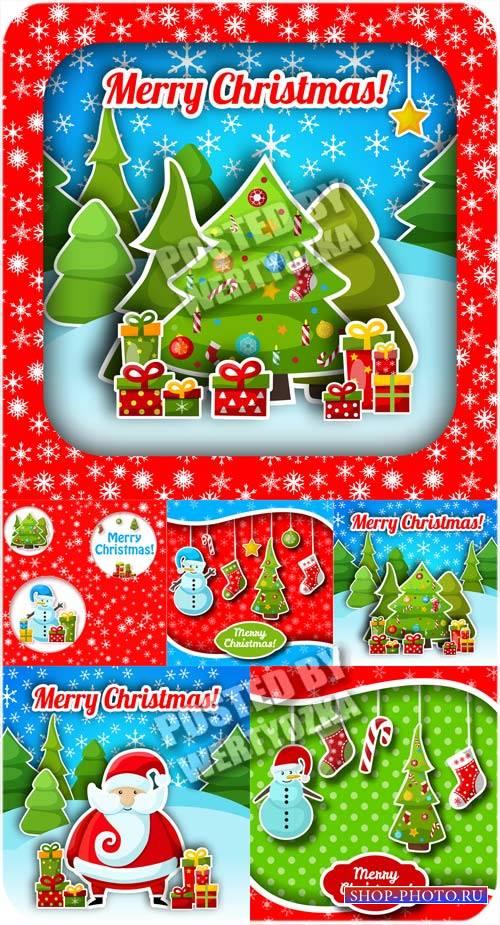 Рождественская елка и санта клаус - вектор