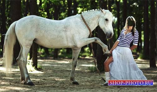 Шаблон для фото - Фото с белой лошадкой