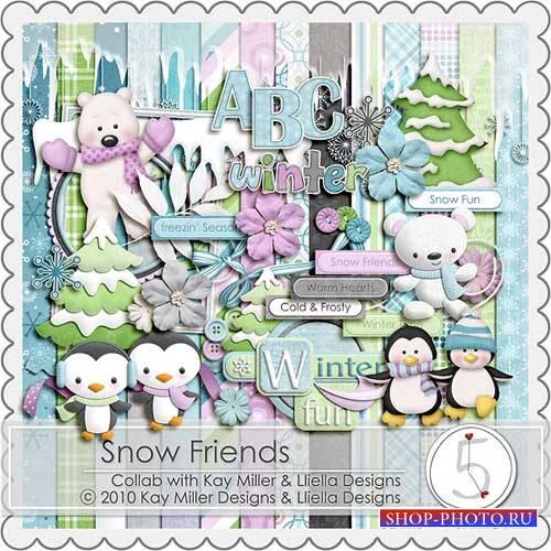Зимний детский скрап-комплект - Снежные друзья