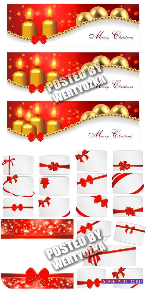 Рождественские векторные карточки с красными лентами и свечами