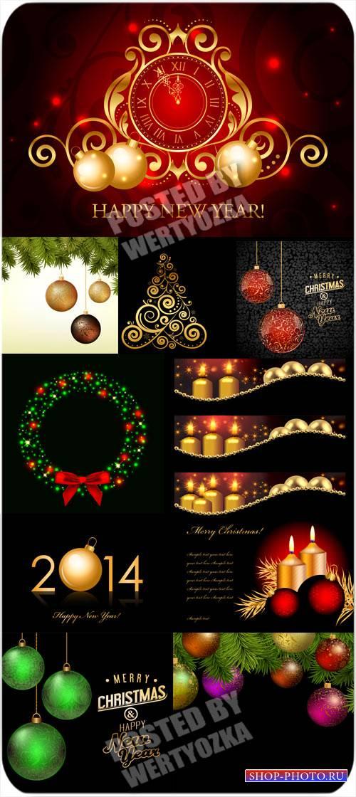 Рождественский вектор, свечи, елка, куранты и сверкающие шары