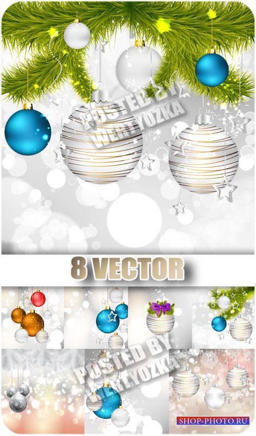 Рождественская елочка и разноцветные шары - сток вектор