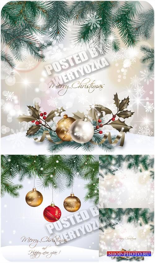 Рождественский вектор с елкой и красивыми шарами