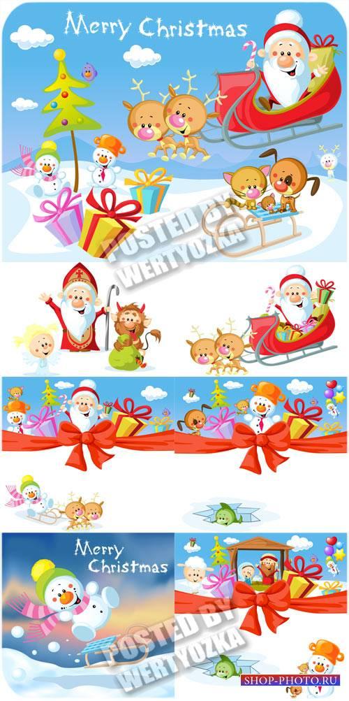 Санта клаус, олени и снеговик - сток вектор