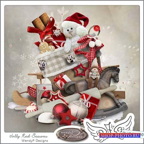 Яркий зимний скрап-комплект - Весёлый сезон в красном
