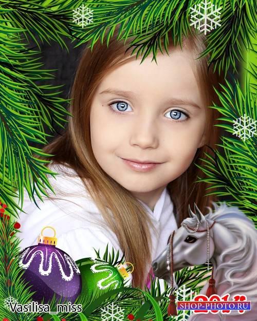 Новогодняя рамка в год лошади - Хвойная фантазия с ёлочными игрушками и лош ...