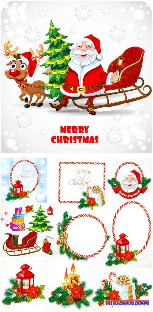 Санта клаус и рождественские композиции - сток вектор