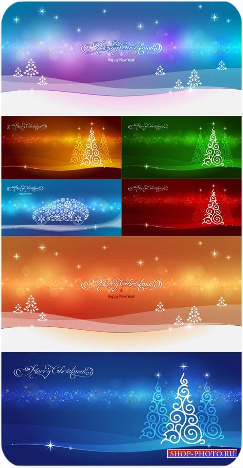 Рождественские елочки, векторные фоны