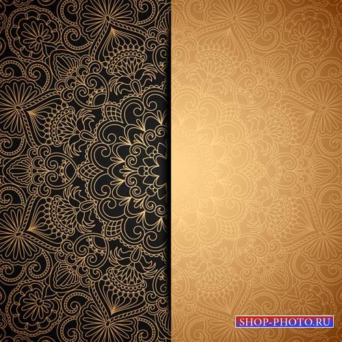 Золотые узоры векторные фоны
