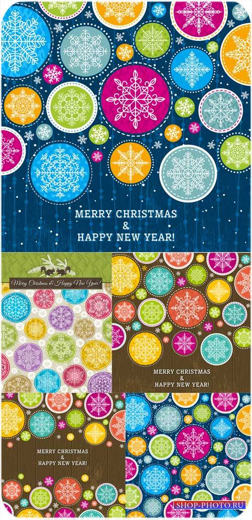 Рождественский вектор с цветными элементами и снежинками