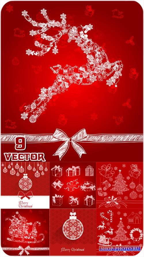 Рождественские векторные фоны с подарками, оленем и елкой