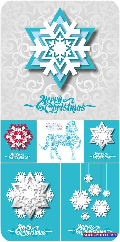 Снежинки на голубых рождественских фонах - вектор