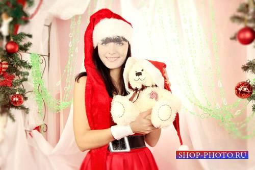 Шаблон для девушек - Брюнетка в костюме снегурочки с мишкой у елки