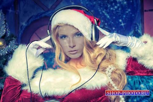 Шаблон для фото - Снегурочка - новогодний DJ
