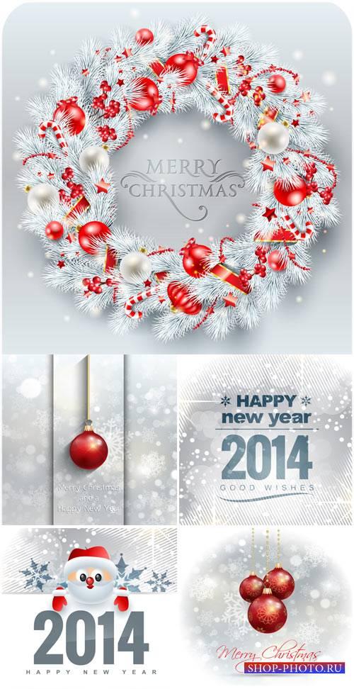 Рождественские векторные фоны с красными шарами и сантой