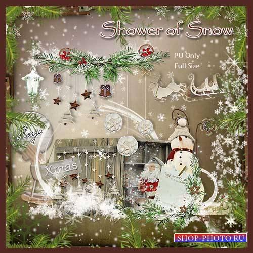Шикарный зимний скрап-комплект - Сыплются снежинки