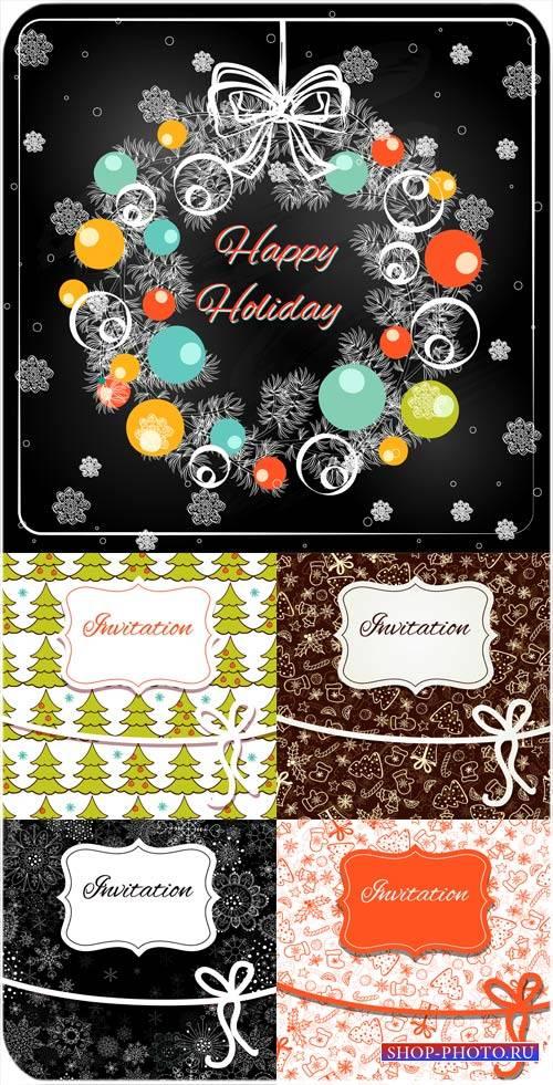 Рождественские векторные фоны с елками и снежинками