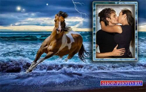 Рамка для фотомонтажа - Мчащаяся лошадка по волнам