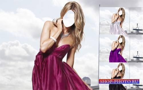 Шаблон для фотошопа - Блондинка в платье на корабле
