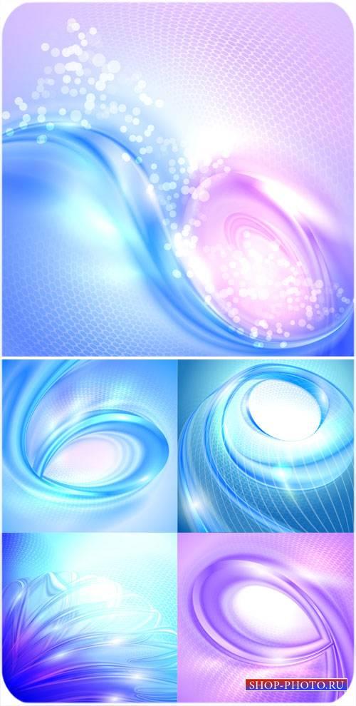 Красивые векторные фоны с голубыми и сиреневыми волнами
