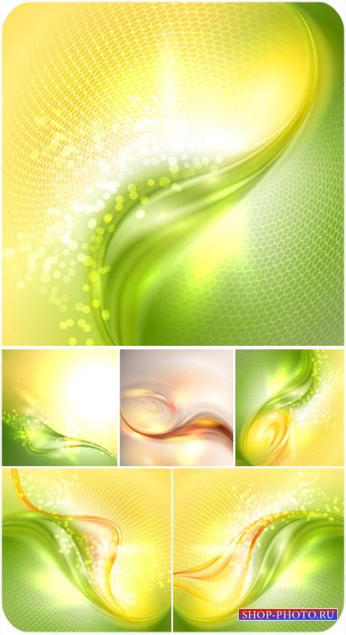 Красивые векторные фоны с зеленой и желтой абстракцией
