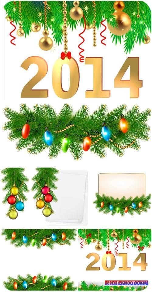 Елка 2014 и разноцветные шары - вектор