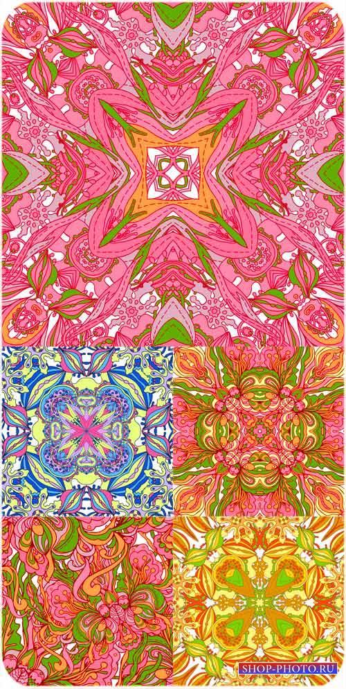 Векторные фоны с разноцветными цветочными узорами
