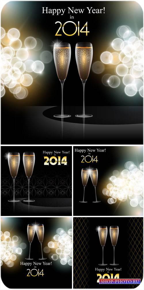 Бокалы с шампанским на новый год - вектор