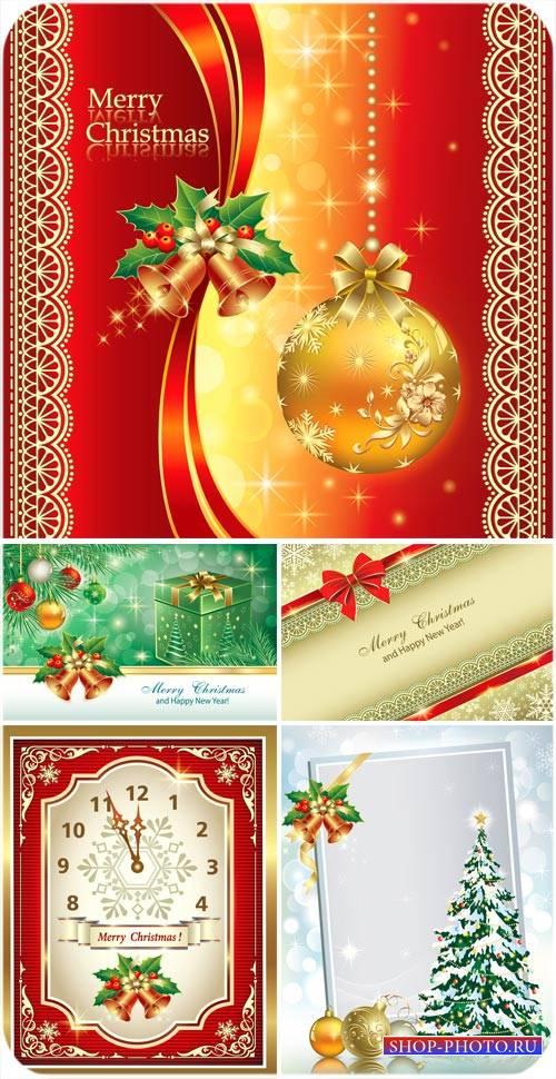 Рождественский вектор, золотые шары, елка