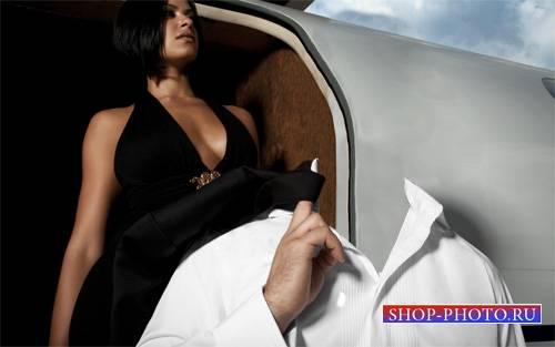 Мужской шаблон - Успешный бизнесмен у самолета с девушкой
