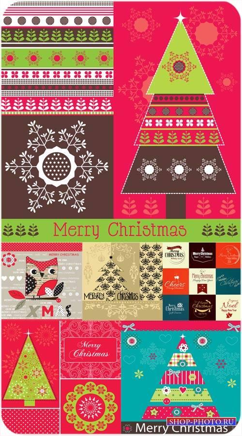 Рождественские векторные фоны с различными узорами и элементами