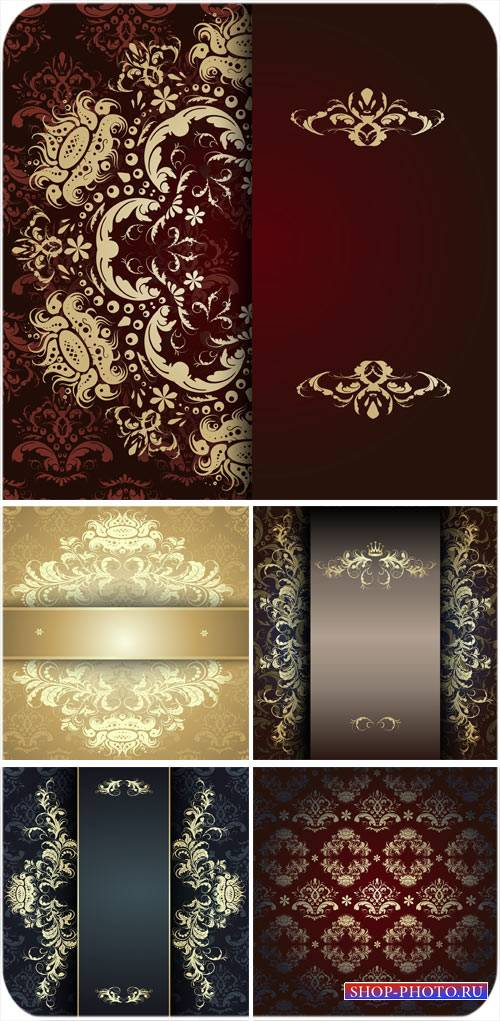 Векторные фоны с винтажными золотыми узорами, цветочные узоры