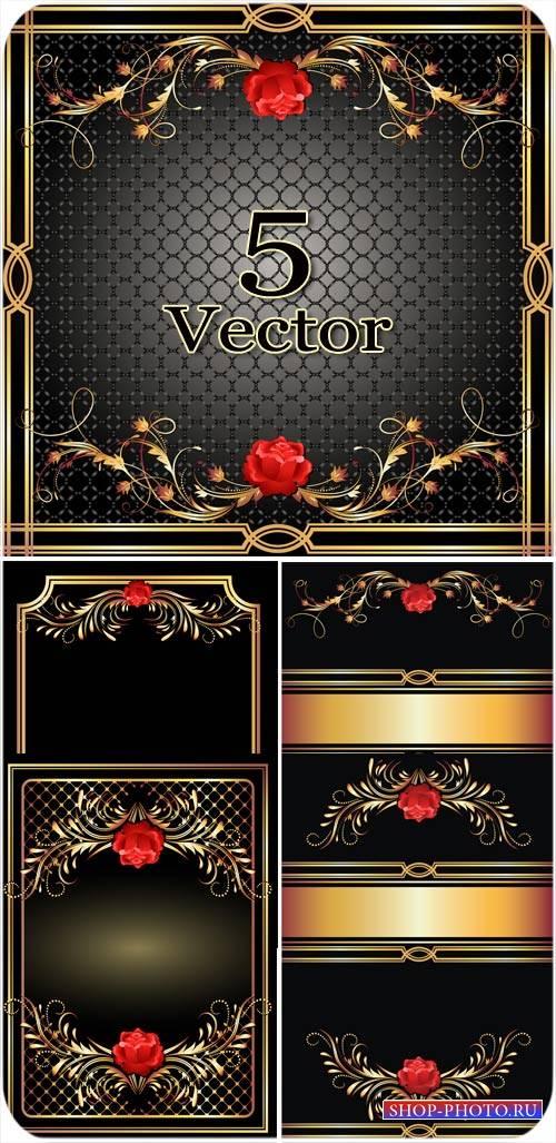Векторные фоны с розами и золотыми орнаментами