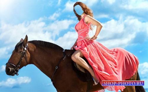Шаблон для photoshop - Верхом на лошади в красивом платье