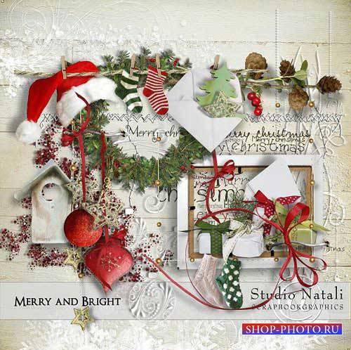 Праздничный новогодний скрап-комплект - Веселый и яркий