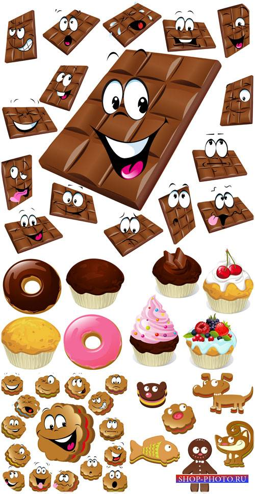 Шоколад, печенье и кексы в векторе