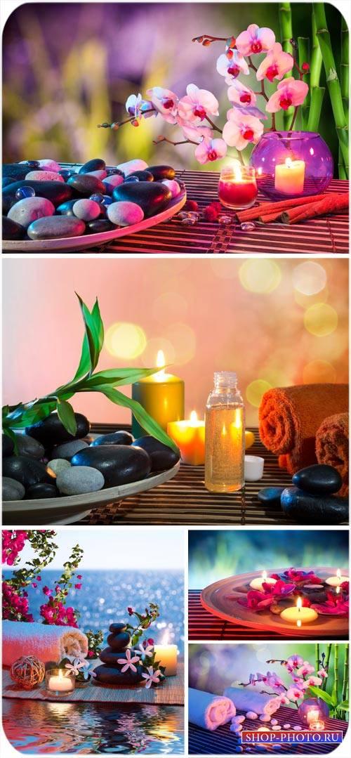 Романтичные спа фоны, свечи, орхидеи