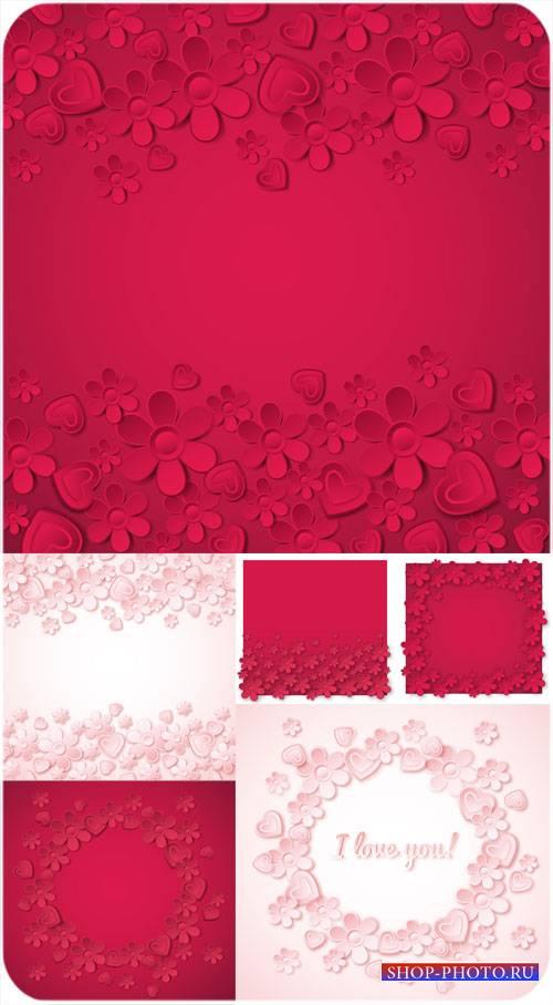 Векторные фоны с цветочками и сердечками