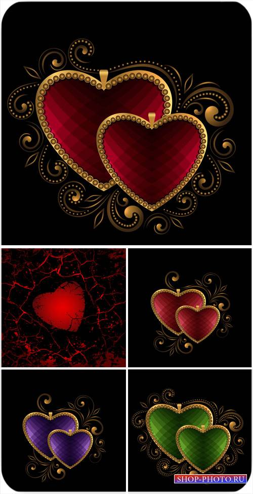 Сердечки с золотыми узорами - вектор