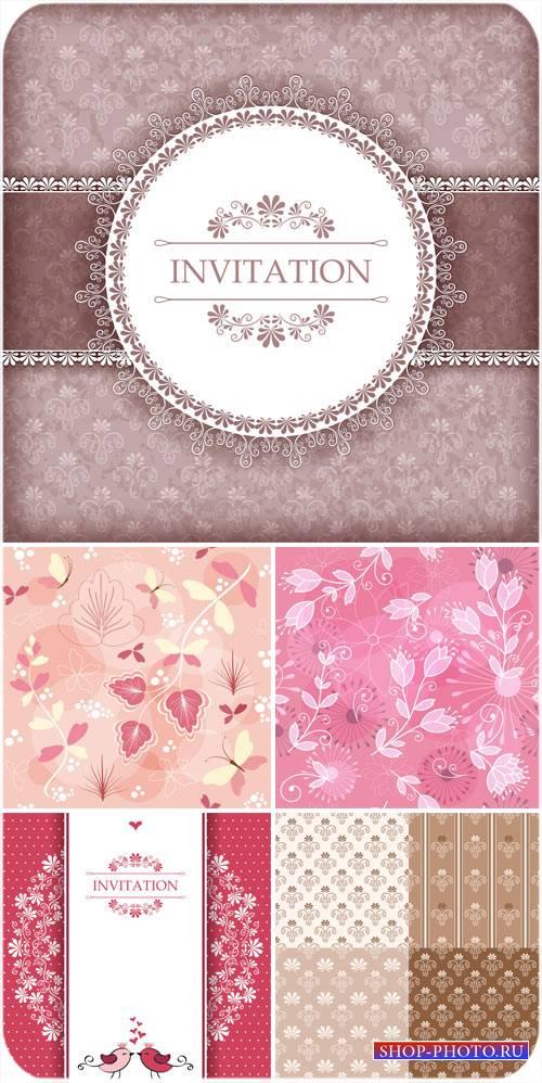 Приглашения, красивые цветочные фоны в векторе
