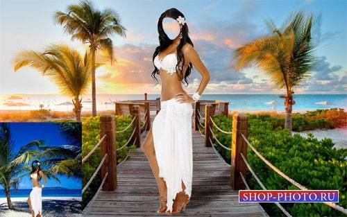 Красивая брюнетка на Гавайях - шаблон для фотошопа