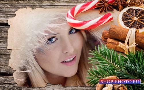 Рамка для фотомонтажа - Рождественская открытка с елкой и сладостями