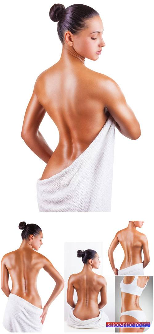 Девушка в полотенце, красивое женское тело - сток фото