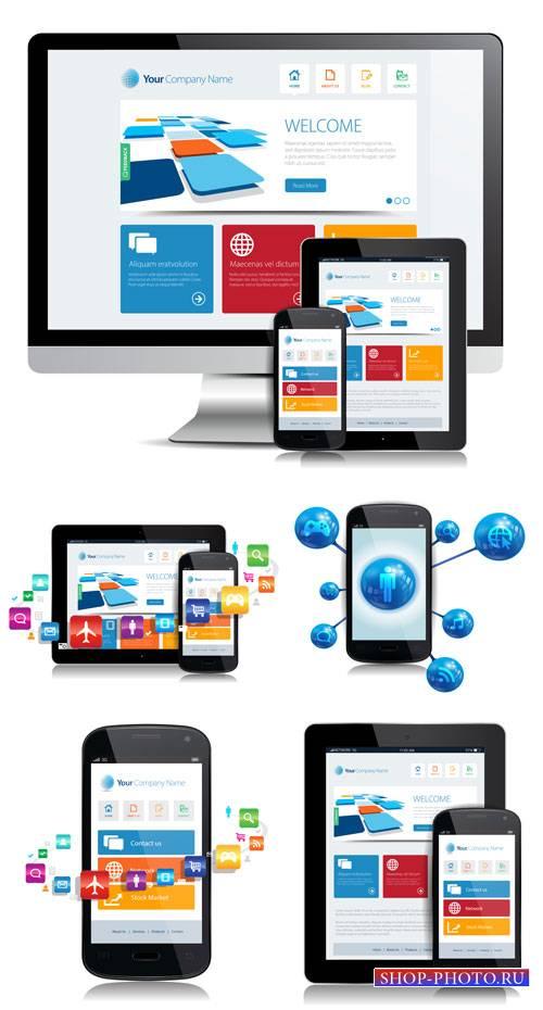 Компьютер, планшет, смартфон - вектор